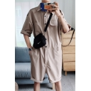 Guys Hip Hop Style Simple Plain Button Front Turn-Down Collar Work Rompers
