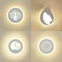 Elephant/Flower/Profile/Tree Wall Sconce Acrylic White LED Wall Lamp in Warm for Kindergarten