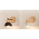 Wood Metal Dome Wall Light 1 Light Rustic Style Sconce Light with Bird in Black/White for Kids Bedroom