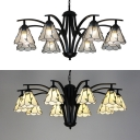 Beige/Clear Glass Cone Chandelier Living Room 8 Lights Traditional Hanging Light with Leaf