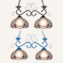 Tiffany Style Dome Pendant Light Glass 2 Lights Black/Blue Chandelier for Restaurant Hotel