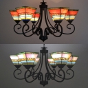 Tiffany Style Craftsman Chandelier 6 Lights Stained Glass Pendant Light in Orange/Pink for Cafe