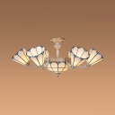 Cone & Dome Living Room Chandelier Glass 9 Lights Tiffany Style Antique Style Hanging Lamp in White