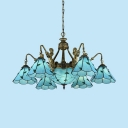 Glass Cone & Dome Chandelier with Mermaid Living Room 9 Lights Tiffany Style Pendant Lamp in Blue