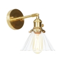 1/2 Pack Industrial Cone Wall Light 1 Light Clear Fluted Glass Sconce Light in Brass for Hallway