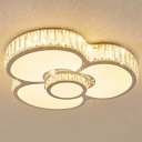 Cute Flower LED Ceiling Mount Light Acrylic White Lighting Ceiling Lamp with Crystal for Girl Bedroom