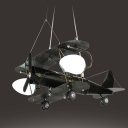Airplane Boy Bedroom Pendant Lamp Metal Glass 3/5 Heads Antique Style LED Ceiling Light