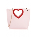 Stylish Plain Heart Hollow Out Crossbody Tote Bag 19*8*21 CM