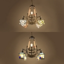Industrial Star/House Chandelier 5 Lights Metal Stained Glass Suspension Light for Shop Bar