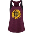 Women's Summer Stylish Lovely Sunflower Printed Round Neck Colorblock Sleeveless Casual Tank
