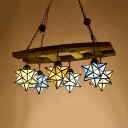 Rustic Style Star Pendant Lamp 6 Lights Stained Glass Wood Chandelier for Villa