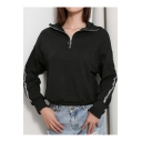 Cool Women's Zip Up Front High Collar Letter Print Long Sleeve Black Sweatshirt