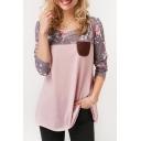 Pink Color Block Floral Print Round Neck Long Sleeve Pocket Patchwork Button Detail T-shirt