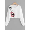 Fashion Lip Print Round Neck Long Sleeve White Cropped T-Shirt