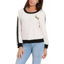Women's LOVE Printed Badge Contrast Hem Round Neck Long Sleeve White Sweatshirt