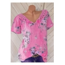 Summer New Stylish V-Neck Short Sleeve Floral Print Lace Hem T-Shirt For Women