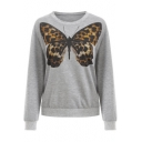 Stylish Women's Leopard Butterfly Print Round Neck Long Sleeve Gray Pullover Sweatshirt