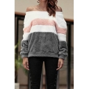 Sexy Color Block Off the Shoulder Long Sleeve Fluffy Fleece Sweatshirt
