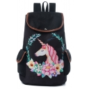 New Collection Floral Unicorn Printed Black School Backpack 28*11*39 CM