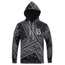 Fashion Number 15 Printed Mens Basic Long Sleeve Black Hoodie