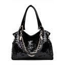 Fashion Solid Color Black Sequin Shoulder Tote Bag Handbag 36*13*28 CM