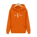 PERFECT Letter Long Sleeve Regular Fitted Hoodie with Pocket