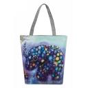 Designer National Style Elephant Printed Purple Canvas Shoulder Bag 27*8*37 CM