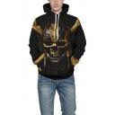 Cool 3D Skull Printed Drawstring Hood Long Sleeve Black Hoodie with Pocket