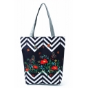 Creative National Style Floral Wavy Stripes Printed Black and White Tote Shopper Bag 27*11*38 CM