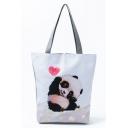 Cute Cartoon Panda Printed Large Capacity White Shoulder Bag 27*11*38 CM