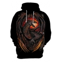 Cool Dragon 3D Print Long Sleeve Black Loose Fit Hoodie for Men