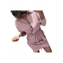 Womens Plain V Neck Button Detail Long Sleeve Bow Tie Asymmetric Mini Shirt Dress