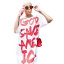 Hot Fashion Round Neck Half Sleeve GOD SAVE Letter Mini Loose Cotton White Shift Dress For Women