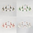 Creative Bottle Chandelier 8 Lights Metal Ceiling Lamp in White/Gray/Green/Pink for Hotel