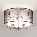 Frosted Glass Cylinder Semi Flush Mount Light Bedroom 5/6 Lights Traditional Ceiling Light with Flower