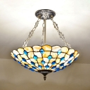 Bowl Shade Restaurant Hanging Light with Blue Beads Glass Antique Style Chandelier in Beige