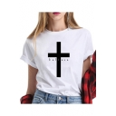BELIEVE Letter Cross Printed White Round Neck Short Sleeve Tee