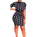 Women's Classic Polka Dot Printed Black Short Sleeve Open Back Bow Tie Mini Bodycon Dress