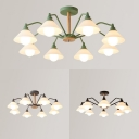 Glass Conical Ceiling Light 8 Lights Simple Style Chandelier in Macaron Black/Gray/Green for Living Room