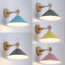 Metal Cone Sconce Light 1 Light Simple Style Macaron Color Scone Lamp with Adjustable Angle for Bedroom