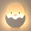 Girl Boy Bedroom Chick Wall Light Acrylic Lovely White Sconce Light in White/Warm