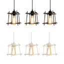 Wire Frame Suspension Light 3 Lights Industrial Ceiling Lamp with Linear Canopy in Black/White for Kitchen