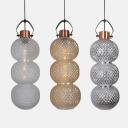 Gourd Shape Living Room Ceiling Lamp Amber/Chrome/Clear Lattice Glass 1 Light Modern Pendant Light