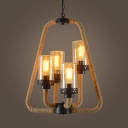 Industrial Cylinder Suspension Light Rope Metal 4 Lights Beige Chandelier for Restaurant