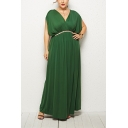 Women's Elegant Batwing Sleeve Plunge Neck Plain Belt Empire Waist Maxi Swing Dress