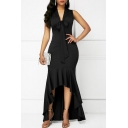 Women's Esteemed Bow V-Neck Sleeveless Asymmetric Hem Maxi Tank Black Dress