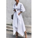 Summer New Casual V Neck Half Sleeve Bow-Tide Waist Midi Asymmetric Dress For Women