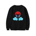 Basic Round Neck Long Sleeve Cool Comic Figure Cloud Print Pullover Sweatshirt