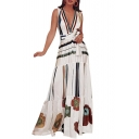 Hot Fashion V-Neck Sleeveless Tribal Printed Bow-Tied Waist Length Floor Beach White Dress