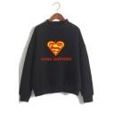 Popular Heart Letter S Printed Mock Neck Long Sleeve Pullover Sweatshirt